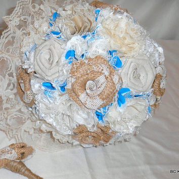 Shabby Chic Burlap Lace and Turquoise Wedding Bouquet