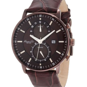 Kenneth Cole KC1778 Men's Brown Dial Leather Strap Chronograph Watch