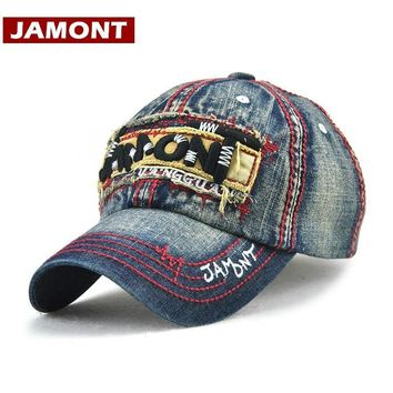 Trendy Winter Jacket [JAMONT]Fall Baseball Cap Men Snapback Unisex Casual Cotton Embroidery Letter Washed Tracker Hat Casquette Homme Bone Mascalino AT_92_12