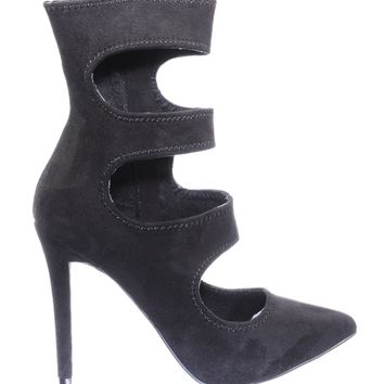 Dedicate71 3 Cutout Ankle Bootie On High Stiletto Heel Pointed Toe Dress Pump