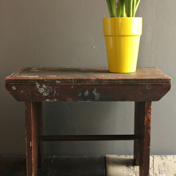 Vintage Wooden Bench, Primitive Wooden Stool, Rustic Wood Table, Rustic Side Table, Vintage Wood Step Stool, Farmhouse Wood Bench