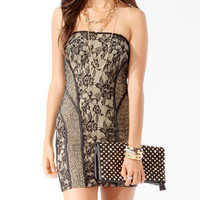 Satin Trimmed Lace Tube Dress