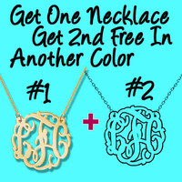 Monogram Necklace PROMOTION Buy One Get one Free Gold tone metal and acrylic free