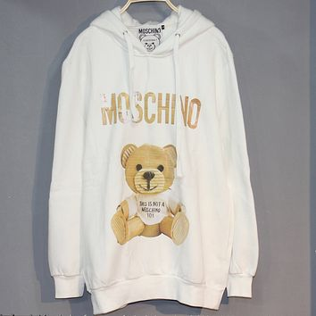 Moschino 2018 new men and women newspaper paper shell bear plus cashmere hooded hoodie white
