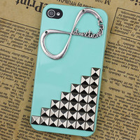 "light Green Case Cover Hard  Silvery Stud With One Direction ""Directioner"" Infinity   for Apple iPhone 4g/4s"