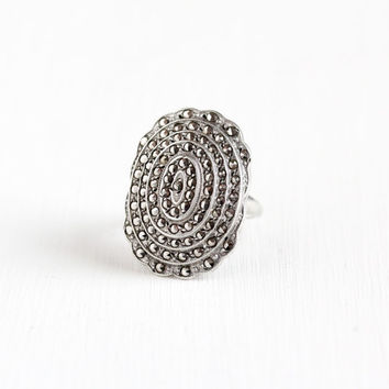 Vintage Art Deco Sterling Silver Marcasite Shield Ring - 1930s Size 7 Huge Statement Flapper Cocktail Ring Jewelry Marked Uncas