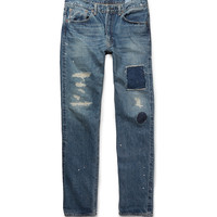 OrSlow - + Beams Ivy 107 Straight-Leg Distressed Denim Jeans