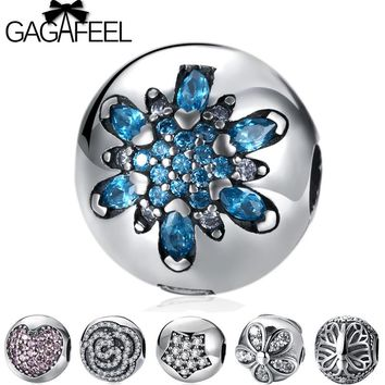 GAGAFEEL Blue Crystal Snowflake Clip Beads Fit Original Pandora Bracelet Bangle Solid 925 Sterling Silver Pink Heart Love Beads