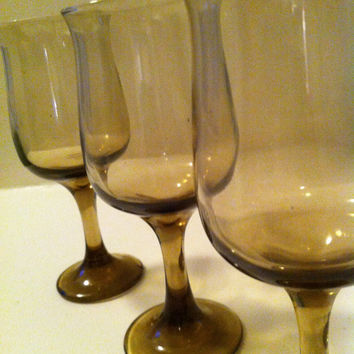Vintage Brown Glass Water Goblets - Wine Glasses