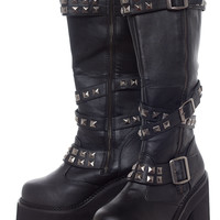 ASSAULT STUDDED STRAP KNEE BOOTS