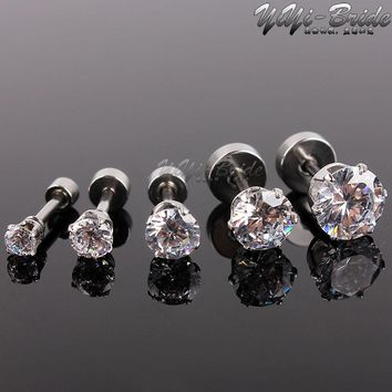 5pcs 3-7mm Zircon Ear Piercing Unique Design Silver Stainless Steel Fake Piercing Tunnels Stud Body Piercing Jewelry Women