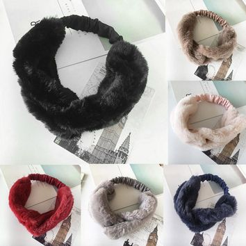 Women Faux Fur Cross Twist Headband Hair Band Turban Elastic Headband Bandage