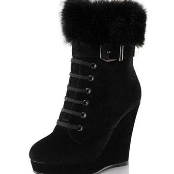 PEAPIX3 Fur Women's Ankle Boots Wedges Boot Shoes Woman (US Size) = 1932536196