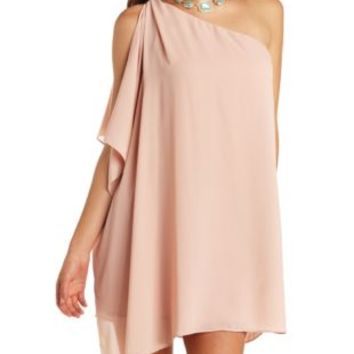 Draping One Shoulder Chiffon Shift Dress - Dusty Rose