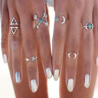 Womens Mens Vintage Silver Arrow Moon Turquoise Joint Knuckle Nail Midi Ring Set of 6 Rings gift