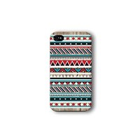 Iphone 4/4s Case, Red and Blue Aztec Geometric on Wood Pattern 3d-sublimated, Mobile Accessories.