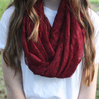 Maroon lace infinity scarf