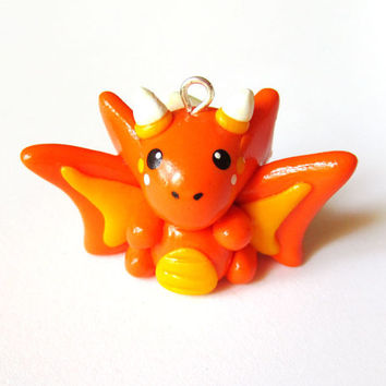 Halloween Candy Corn Orange Dragon Miniature Charm
