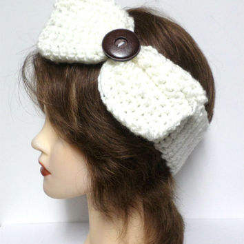 Women's off-white crochet large bow large brown button accent headband, ear warmer, off-white crochet bow button headband, gift