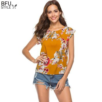 2018 Summer Chiffon T Shirt Women Floral Print Beach Boho T Shirt Casual Yellow White Female Flower Print Top Tees Cute Girl Tee