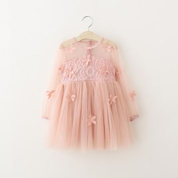 baby girls dress summer 2018 Lace flower clothes girls dresses for party and weddingfull sleeve pirncess petal Dress child wear