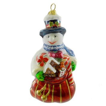 Polonaise Ornaments SNOWMAN W/ SWEETS Glass Ornament Christmas Pastry AP3394