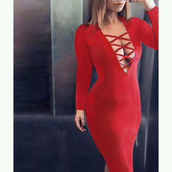 LMFON hollow out  tight dress-3