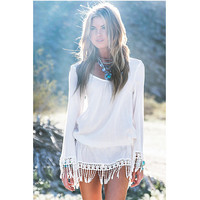 Casual Summer Style Summer Dress 2015 Women Dress White Fringe Tassel Long Sleeve Dresses Women Clothing