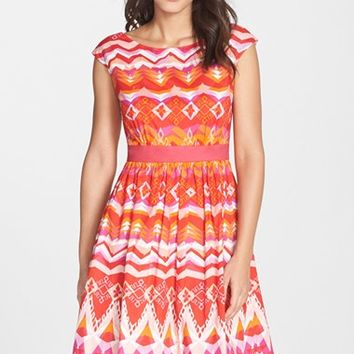 Women's Eliza J Print Cotton Fit & Flare Dress