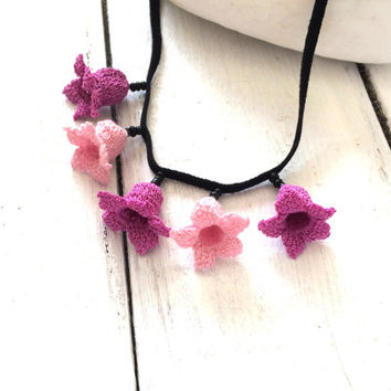 Crochet Lilac Flowers Black Beads with Suede Leather Necklace Beaded Jewelry Crochet Jewellery, Beadwork, ReddApple, Gift Ideas for Her