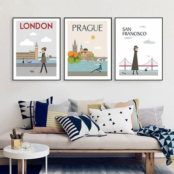 The Morning of City London New York Vintage Poster Landscape Art Canvas Painting Wall Modular Pictures Modern Home Decoration