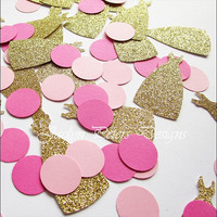 Party Confetti, Gold Glitter And Shades Of Pink, Dress And Polka Dots, Bridal Shower Decor, Princess Birthday Supply, Weddings, 150 Pieces
