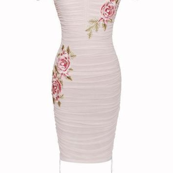 Beige Off Shoulder Flower Embellished Ruched Mesh Dress