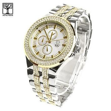 Jewelry Kay style Men's Luxury Silver Plated Metal Band Bling Iced Out Hip Hop Watches WM 8324 TT