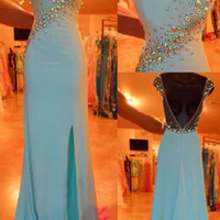 Cap Sleeve Mermaid Mint Prom Dress Jersey with Beaded Long Party Dress APD1654