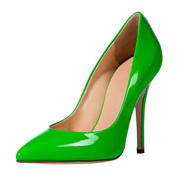 Patent Leather Pumps Apple Green Size 35-45 B190