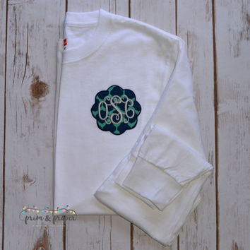 Monogrammed Long Sleeve Tshirt, Pocket Tshirt, Long Sleeve Pocket Tee, Scallop Frame