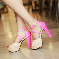 Cross Strap Platform Sandals Peep Toes Women Pumps High Heels Shoes Woman