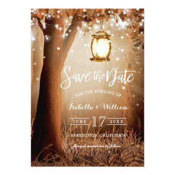 Chic Rustic Country String Lights Save the Date Card
