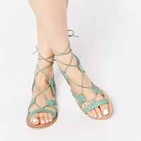 ASOS FOR LOVE Leather Lace Up Sandals