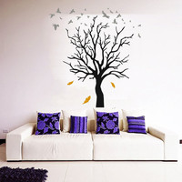 Floral Wall Decals Tree Decal Autumn Leaves Decor Birds Vinyl Sticker Art Mural Home Dorm Room Decal Interior Design Bedroom Decor KY126