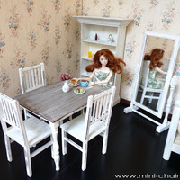 1/6 scale Table and 4 Chairs Dining Set for dolls (Blythe, Barbie, BJD, Momoko). Shabby Chic