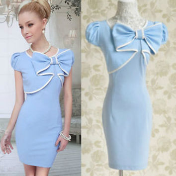2003 NEw Dolly sweet Cute Princess elegance Slim BOW Blue Short sleeve Dress S~L