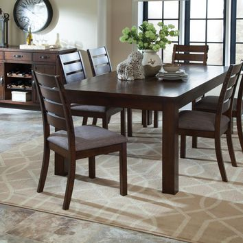 7 pc Wiltshire rustic pecan wood finish rectangular rough sawn plank dining table set