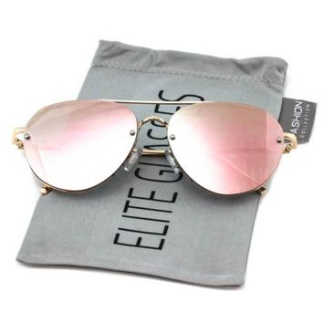 CLASSIC VINTAGE RETRO RIMLESS UV400 ROSEGOLD DESIGNER MIRRORED WOMEN SUNGLASSES