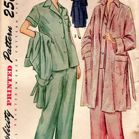 Simplicity 40s Vintage Sewing Pattern Two Piece Pajamas House Coat Bathrobe Lounge Pants PJs Bust 34