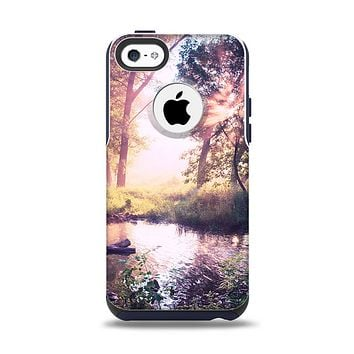 The Vivid Colored Forrest Scene Apple iPhone 5c Otterbox Commuter Case Skin Set