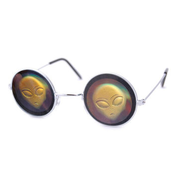 Alien Holographic Hologram Smile Lennon Sunglasses eyewear ying yang 90s nineties