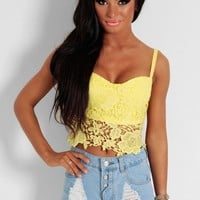 Daffodil Yellow Lace Bralet Crop Top | Pink Boutique