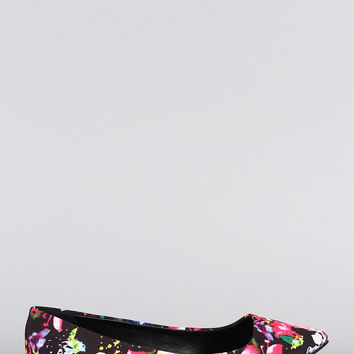 Qupid Floral Pointy Toe Ballet Flat